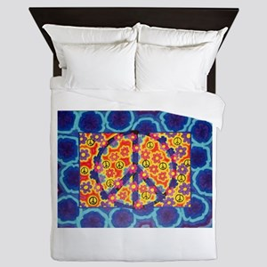 Flowers and peace Queen Duvet