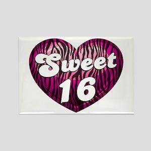 Sweet 16 Zebra Heart Rectangle Magnet