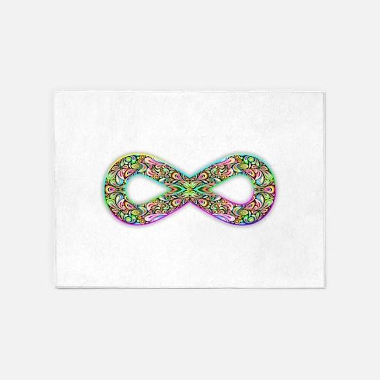 Infinity Psychedelic Symbol 5'x7'Area Rug