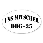 USS MITSCHER Sticker (Oval)