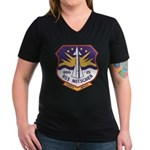 USS MITSCHER Women's V-Neck Dark T-Shirt