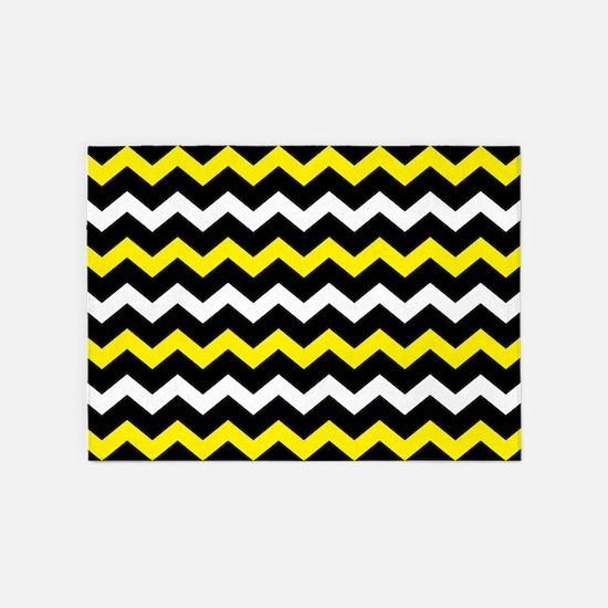 Black Yellow And White Chevron 5'x7'Area Rug