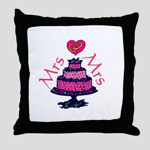 Mrs and Mrs Cake Throw Pillow