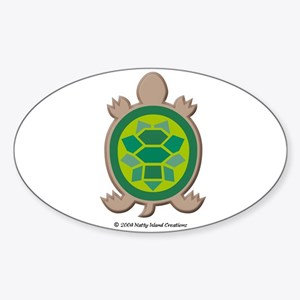 Mosaic Turtle Oval Sticker