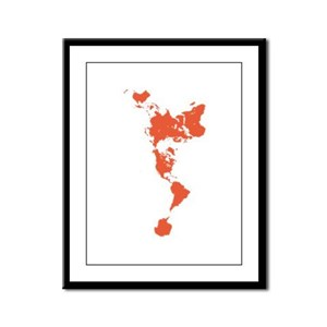 New Perspectives World Map - Red Framed Panel Prin