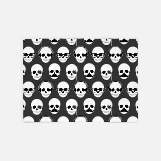 Hipster Skulls Pattern 5'x7'Area Rug