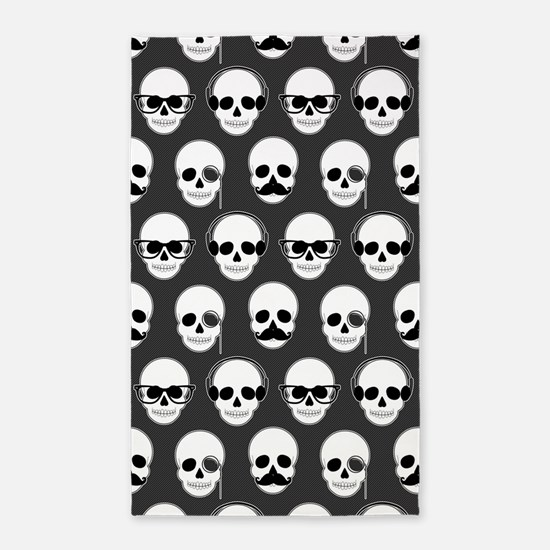 Hipster Skulls Pattern 3'x5' Area Rug
