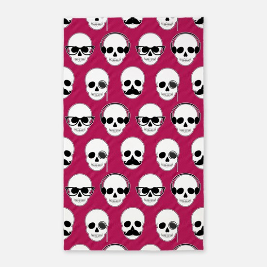 Hipster Skulls Pattern Pink 3'x5' Area Rug