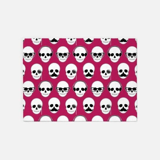 Hipster Skulls Pattern Pink 5'x7'Area Rug