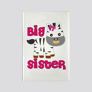 Big Sister Zebra with Ribbon Rectangle Magnet