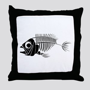 Boney Fish Throw Pillow