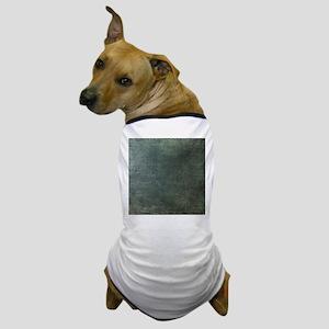 Green script linen texture Dog T-Shirt