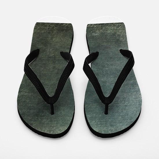 Green script linen texture Flip Flops