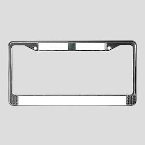 Green script linen texture License Plate Frame