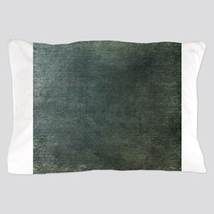 Green script linen texture Pillow Case