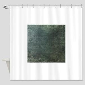 Green script linen texture Shower Curtain