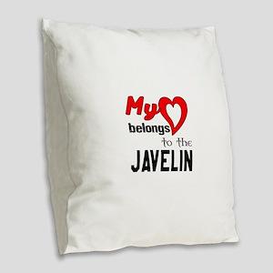 My Heart belongs to the Javeli Burlap Throw Pillow