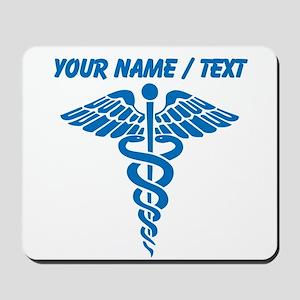 Custom Blue Medical Caduceus Mousepad
