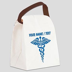 Custom Blue Medical Caduceus Canvas Lunch Bag