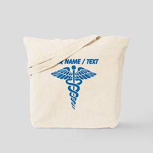 Custom Blue Medical Caduceus Tote Bag