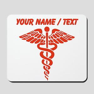 Custom Red Medical Caduceus Mousepad