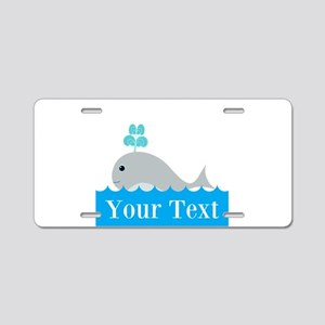 Personalizable Gray Whale Aluminum License Plate
