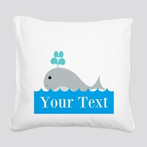 Personalizable Gray Whale Square Canvas Pillow