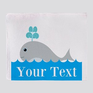 Personalizable Gray Whale Throw Blanket