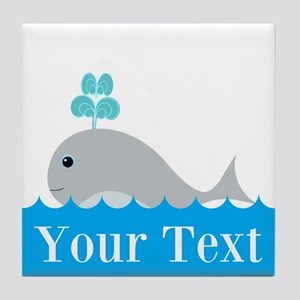 Personalizable Gray Whale Tile Coaster