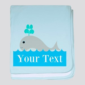 Personalizable Gray Whale baby blanket