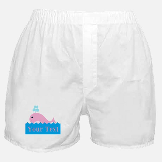 Personalizable Pink Whale Boxer Shorts