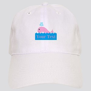 Personalizable Pink Whale Baseball Cap