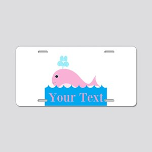 Personalizable Pink Whale Aluminum License Plate