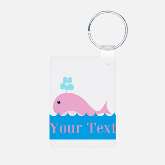 Personalizable Pink Whale Keychains