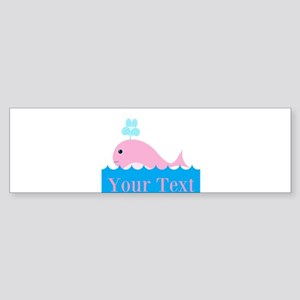 Personalizable Pink Whale Bumper Sticker