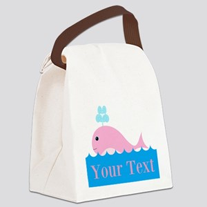 Personalizable Pink Whale Canvas Lunch Bag