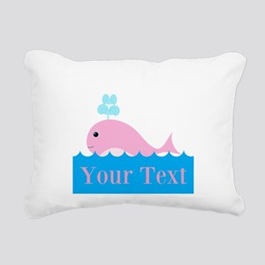 Personalizable Pink Whale Rectangular Canvas Pillo