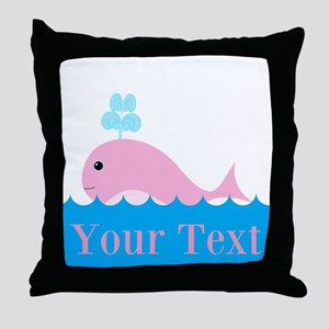 Personalizable Pink Whale Throw Pillow