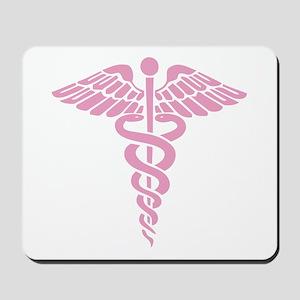 Pink Medical Caduceus Mousepad