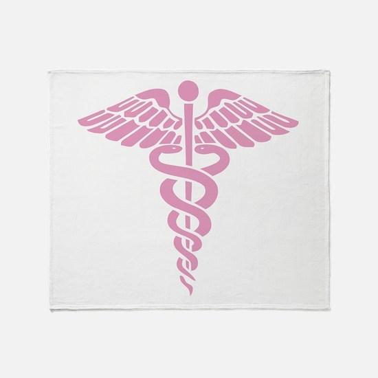 Pink Medical Caduceus Throw Blanket