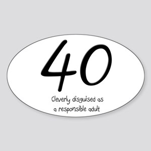40th Birthday Sticker (Oval)
