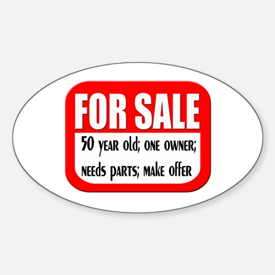 For Sale 50th Birthday Oval Decal