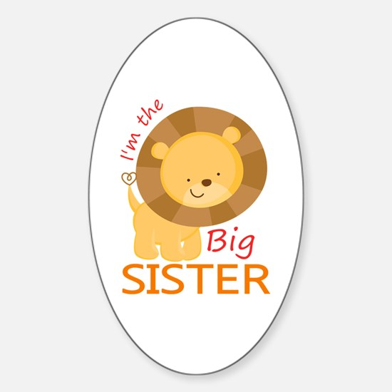 Big Sister Cute Lion Sticker (Oval)