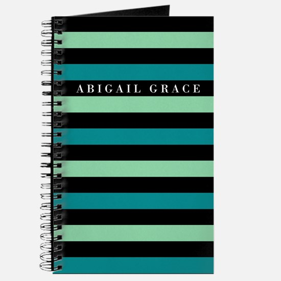 Green Black Bold Striped Pattern Journal
