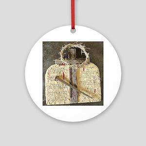 10 Commandments & Cross Ornament (Round)