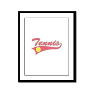 Pink Tennis Lettering Framed Panel Print