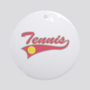 Pink Tennis Lettering Ornament (Round)