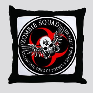 Zombie Squad 3 Ring Patch Revised Throw Pillow