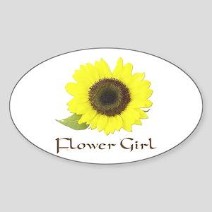 Sunflower Flower Girl Oval Sticker
