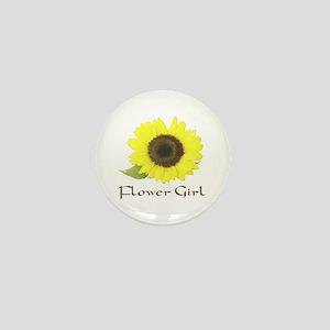 Sunflower Flower Girl Mini Button